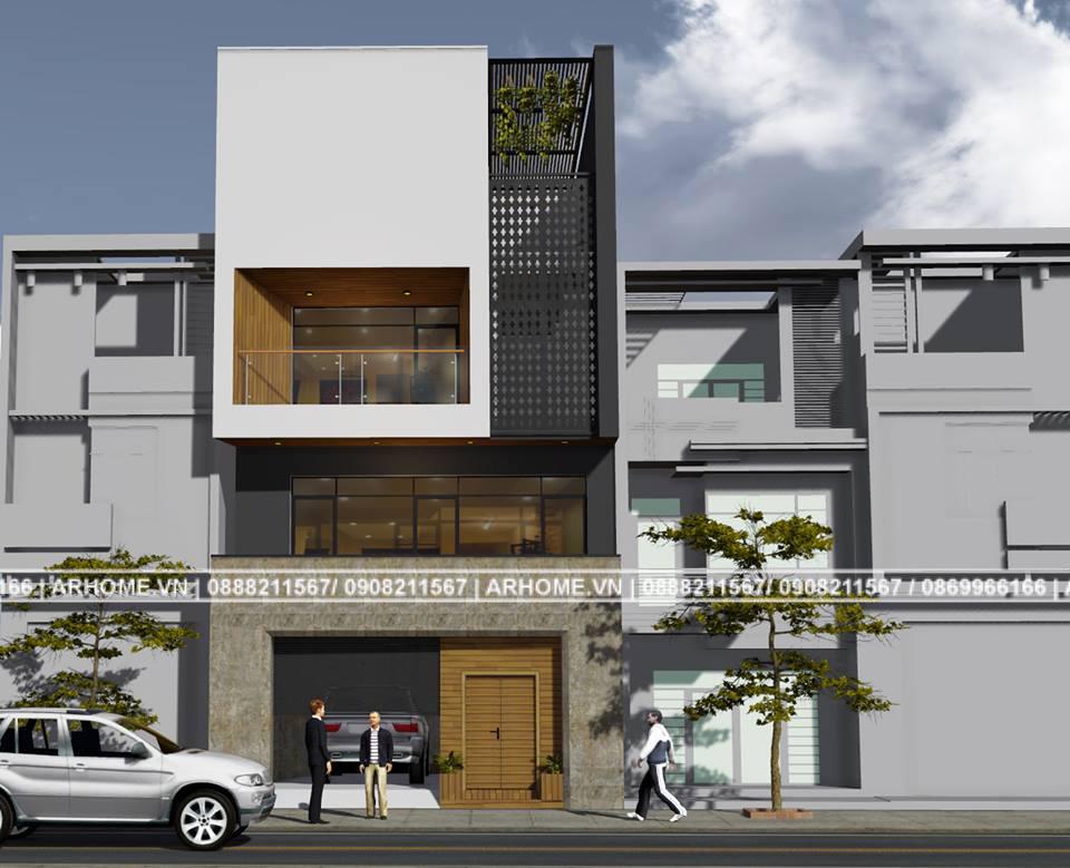 Mẫu nhà 3 tầng hiện đại với lối kiến trúc độc đáo vừa để ở vừa làm văn phòng