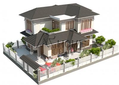 Ấn tượng với mẫu thiết kế biệt thự 2 tầng hiện đại mái thái của anh Mão