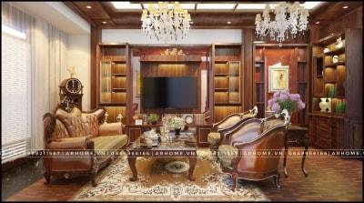 Thiết kế nội thất biệt thự Tân cổ điển full gỗ tự nhiên nhà chú Quang