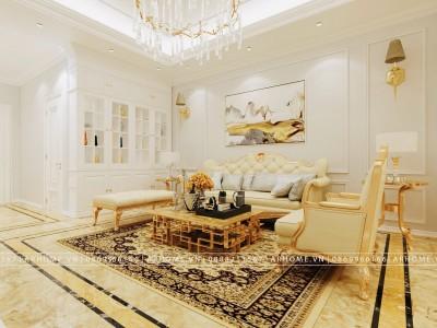 Lộng lẫy và tiện nghi với mẫu thiết kế nội thất tân cổ điển chung cư 120m2
