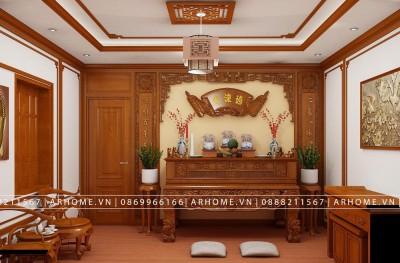 Báo giá thi công nội thất phòng thờ gỗ Gụ nhà anh Huy Trinh
