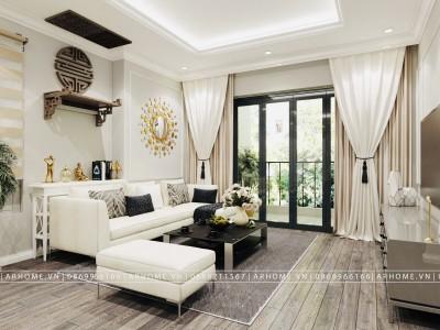 Thiết kế nội thất căn hộ tân cổ điển 96m2 dự án Thăng Long Capital