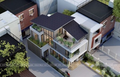Mẫu thiết kế biệt thự 2 tầng 1 tum mái thái hiện đại với không gian xanh mát