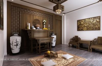 Trang nghiêm với thiết kế nội thất phòng thờ gia tiên cho nhà liền kề gia đình chị Bích