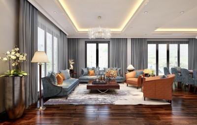 Thiết kế nội thất phòng khách biệt thự tân cổ điển sang trọng hoàn mỹ