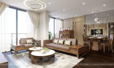 Thiết kế nội thất căn hộ Vinhomes Symphony Riverside gỗ óc chó
